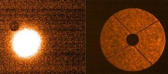 """Immagine ottenuta durante il primissimo puntamento del telescopio sui due rivelatori. A sinistra si può notare l'immagine di una stella, 60 Srg A: la bontà del puntamento si può apprezzare dalla vicinanza dell'oggetto alla posizione della fibra ottica (il buco circolare più scuro leggermente in alto a sinistra). A destra, invece, l'immagine della """"pupilla"""": lo specchio secondario e la struttura che lo sostiene hanno ombre molto nette, indice di una qualità dell'immagine ottimale."""