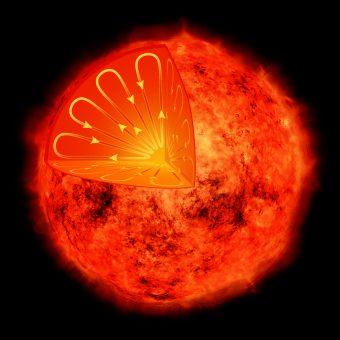 Illustrazione dell'interno di una stella di massa ridotta, completamento interessato dal moto convettivo del plasma. Al contrario di stelle più grandi, come il nostro Sole, queste stelle non dovrebbero mostrare cicli di attività magnetica, che invece sono stati ora scoperti sulla vicina stella Proxima Centauri. Crediti: NASA/CXC/M.Weiss