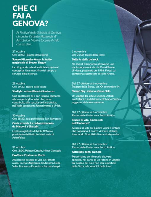 L'INAF al Festival della Scienza di Genova 2016