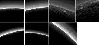 I sette oggetti nell'atmosfera trasparente di Plutone che il team di New Horizons ha identificato come possibili nuvole. Crediti: NASA/JHUAPL/SwRI