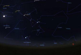 Simulazione del cielo visibile in direzione sud il 22 ottobre alle 2 antimeridiane, per le latitudini dell'Italia centrale. Crediti: Media INAF – Stellarium