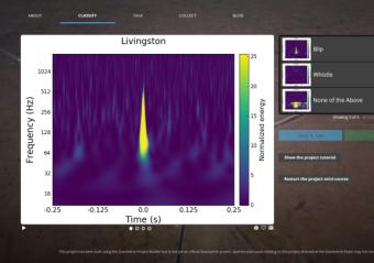 Una schermata di Gravity Spy con il pittogramma da analizzare. Crediti: Gravity Spy team