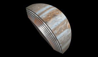 Una imagine artistica degli strati di Giove visti da MWR Crediti: NASA/JPL-Caltech/SwRI/GSFC