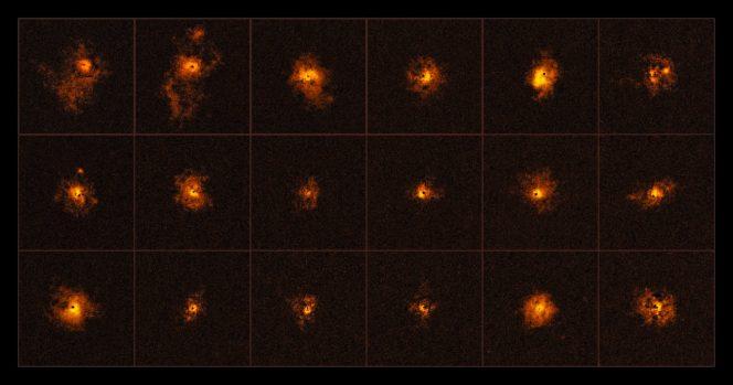 Il mosaico mostra 18 dei 19 quasars osservati grazie allo strumento MUSE al VLT da un'equipe internazionale di astronomi, guidati dall'ETH di Zurigo, in Svizzera. Ogni quasar osservato è circondato da un alone gassosso brillante. Crediti: ESO/Borisova et al.