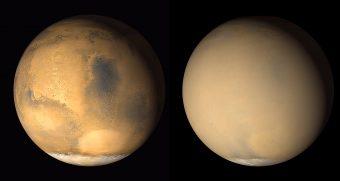 Marte nel 2001, in due immagini raccolte a un mese di distanza l'una dall'altra dal Mars Global Surveyor della NASA: nel riquadro a destra è evidente l'offuscamento completo prodotto dalla tempesta di polvere. Crediti: NASA/JPL-Caltech/MSSS