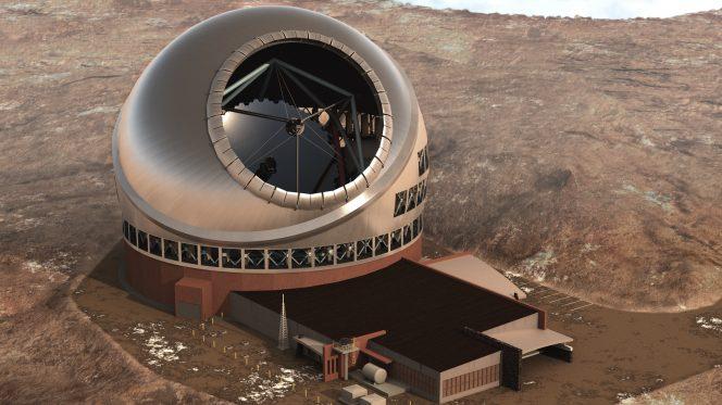 Un rendering di quello che sarà Thirty Meter Telescope, il telescopio USA da 30 metri.