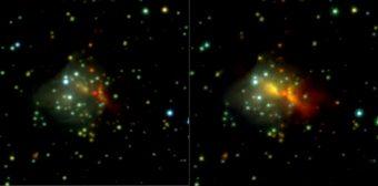 Immagini nel vicino infrarosso (nelle bande K, H, J) prima (a sinistra) e dopo l'outburst della giovane stella di grande massa S255IR NIRS 3. Le riprese provengono dai dati d'archivio UKIDDS del 2009 e dallo strumento PANIC (Osservatorio di Calar Alto) nel 2016