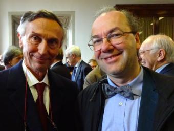 """Piero Salinari (a sinistra) e Roberto Ragazzoni All'Accademia dei Lincei, dove hanno ricevuto oggi il Premio """"Antonio Feltrinelli"""" 2016 per l'Astronomia"""
