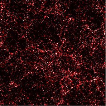 Distribuzione della materia oscura a 3 miliardi di anni dal Big Bang. Simulazione Virgo / Amblard / ESA.