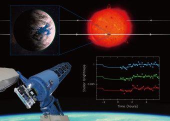 Il collage riassume i risultati della ricerca. Con il telescopio Okayama è stato possibile osservare i transiti del pianeta extrasolare K2-3d, che ha dimensioni e temperature simili a quelle terrestri. In alto una rappresentazione artistica del sistema studiato. Crediti: NAOJ