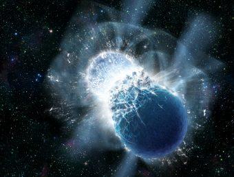 Rappresentazione artistica della fusione di due stelle di neutroni, uno fra gli eventi che potrebbero essere all'origine dell'emissione osservata da Swift e dal radiotelescopio di Parkes. Crediti: Dana Berry, SkyWorks Digital, Inc.