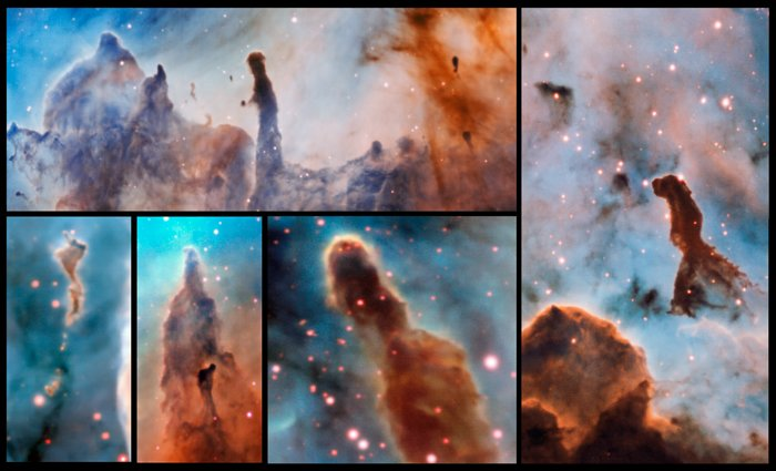 Questa immagine composita mostra alcuni pilastri all'interno della Nebulosa Carena, osservati e studiati dallo strumento MUSE, montato sul VLT (Very Large Telescope) dell'ESO. Le stelle massicce all'interno della zona di formazione stellare stanno lentamente distruggendo i pilastri di polvere e gas da cui hanno avuto origine. Crediti: ESO/A. McLeod