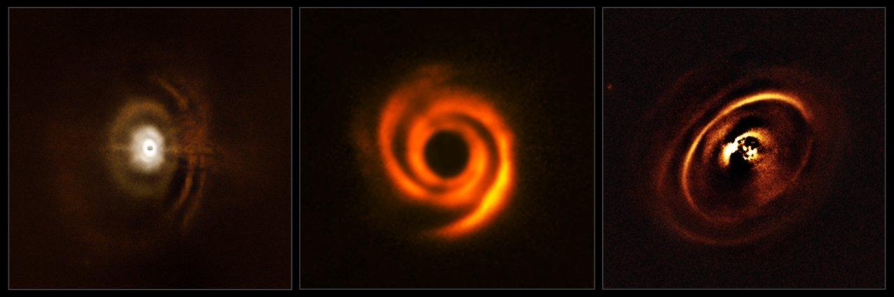 Questi tre dischi planetari sono stati osservati con lo strumento SPHERE, montato sul VLT dell'ESO. Le osservazioni sono state fatte per chiarire l'evoluzione enigmatica dei sistemi planetari appena nati. La zona centrale appare scura nelle immagini perchè SPHERE blocca la luce della stella centrale per rivelare le strutture molto piu' deboli che la circondano. Crediti: ESO