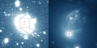 A sinistra: immagine ripresa da Hubble dell'ammasso di galassie ZwCl 8193. A destra: dettaglio che rivela il nucleo della galassia gigante 2MASX 17171926+4226571 (identificato dalla croce) e della galassia più piccola B3 1715 + 425 (nel cerchio), oltre a diverse altre galassie del cluster e detriti residui dell'interazione estesa. Crediti: J.J. Condon et al / NASA / ESA / Hubble / NSF / VLBA.