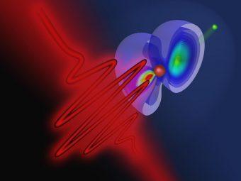Un impulso laser colpisce un atomo di elio. Un elettrone viene strappato dell'atomo, e l'altro può cambiare il proprio stato quantico. Crediti: TU Wien