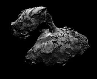 """Immagine del nucleo cometario di 67P scattata dalla camera di navigazione (NAVCAM) a bordo della sonda Rosetta. In questa fotografia è possibile riconoscere la forma a due lobi della cometa, e della parte centrale che li unisce, il cosiddetto """"collo"""". Crediti: ESA/Rosetta/NAVCAM"""