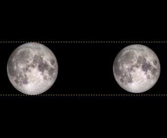 """Un confronto tra le dimensioni apparenti della Luna piena al perigeo, ovvero alla minima distanza dalla Terra ( a sinistra, chiamata anche """"superluna"""") e all'apogeo, la massima distanza dal nostro pianeta. Crediti: NASA"""