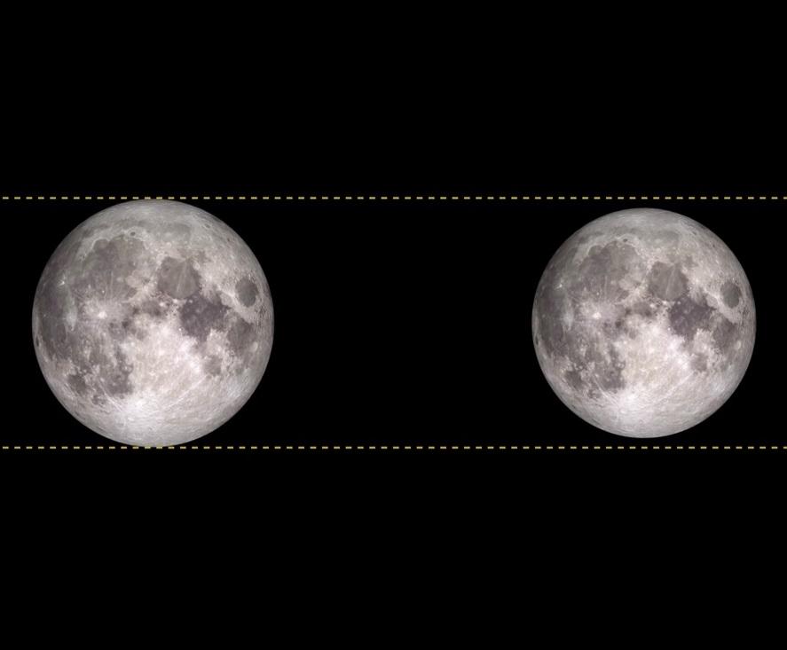 Un confronto tra le dimensioni apparenti della Luna piena al perigeo ovvero alla minima distanza dalla Terra e all'apogeo la massima distanza dal nostro pianeta. Crediti NASA