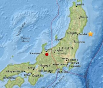La posizione dell'osservatorio Kamioke è indicata dal pallino rosso; la stella indica l'epicentro del simsma del 2011. Crediti: elaborazione INAF su mappa USGS
