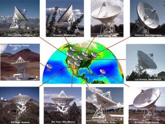 Il radiotelescopio VLBA. Crediti: NRAO/AUI; immagine della Terra per concessione del SeaWiFS Project NASA/GSFC e ORBIMAGE