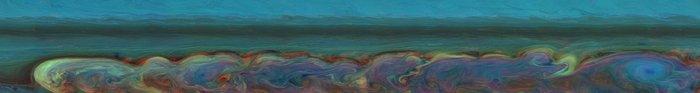 La gigantesca tempesta che ha investito Saturno dal dicembre 2010 al giugno 2011. L'immagine è stata realizzata mettendo insieme, in falsi colori, 84 foto scattate dalla sonda Cassini nel vicino infrarosso. Crediti: NASA/JPL-Caltech/Space Science Institute