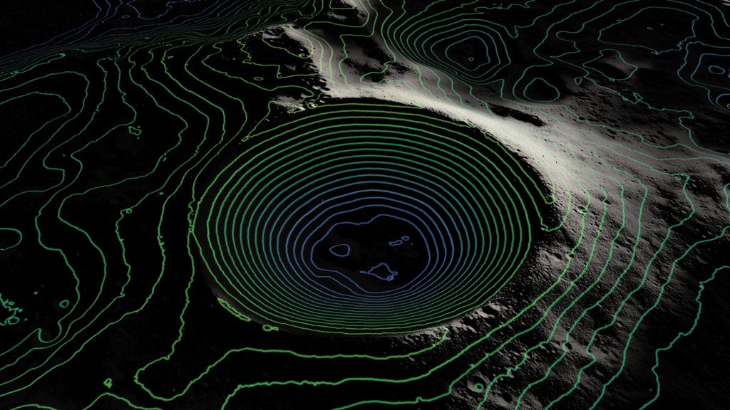 Con la creazione di mappe dei poli, gli scienziati possono capire quali sono i crateri permanentemente in ombra. Crediti: NASA Goddard/LRO mission