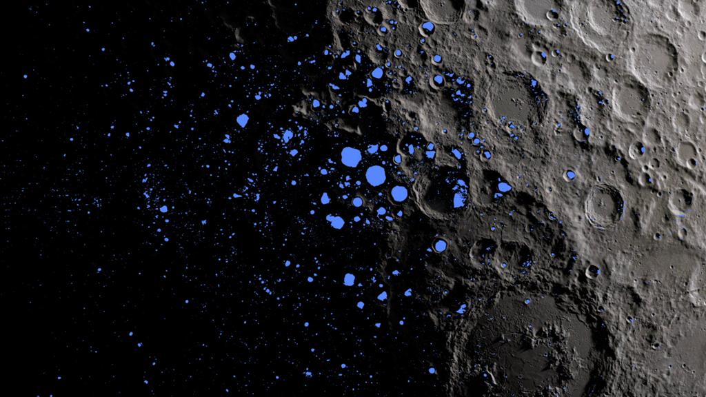 Una mappa che mostra le regioni permanentemente in ombra (blu) che coprono circa il 3% del polo sud della Luna. Crediti: NASA Goddard/LRO mission