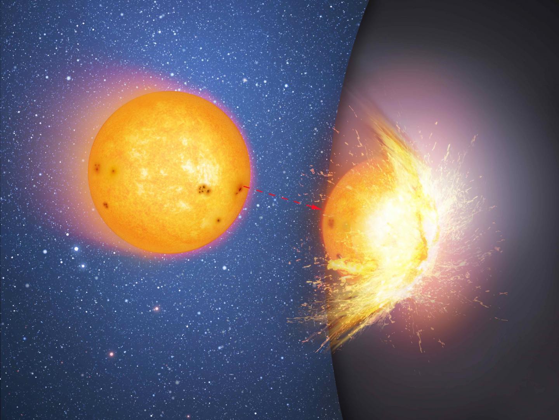 In questa prima immagine vediamo un oggetto alternativo al buco nero con orizzonte degli eventi: una sfera enorme e massiccia al centro di una galassia. La stella si scontra con la dura superficie della sfera, e l'impatto sparge frammenti ovunque. Crediti: Mark A. Garlick/CfA