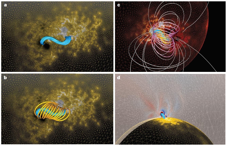 2079def2e3f Gabbia e corda magnetica nella formazione di un eruzione solare. Crediti   Nature