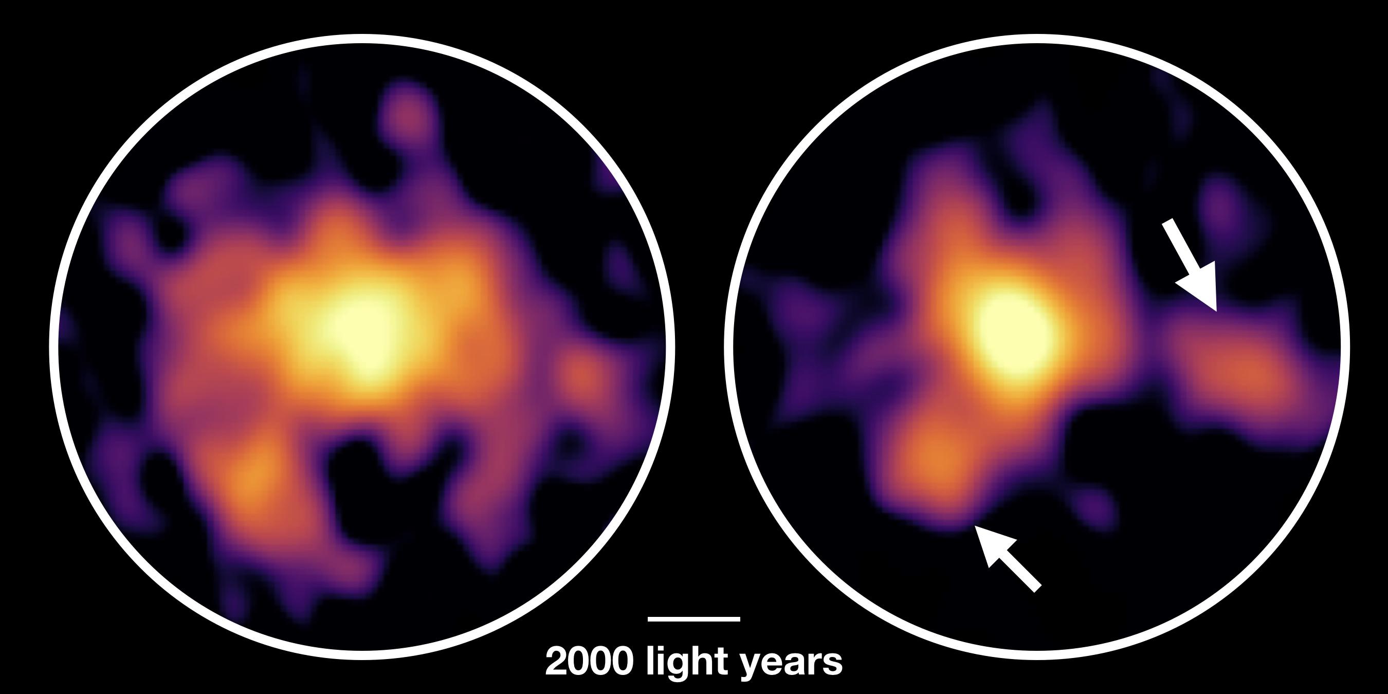 immagini di ALMA della galassia Cosmos-Atzec-1